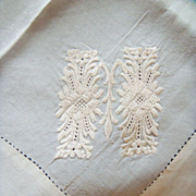 Cream Silk Handkerchief, &quot;M&quot; Monogram