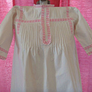 White Cotton Nightgown with Pink Embroidered Ribbon Accents