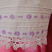White Cotton Bloomers with Purple Embroidered Ribbon & Lace Accents