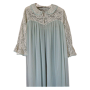 1960s Komar Light Blue Nylon Long Robe with Cream Lace Bodice & Sleeves, size L