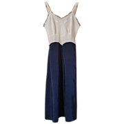 &quot;Trillium Underthings&quot; Cream & Navy Blue Taffeta Slip or Nightgown, size S