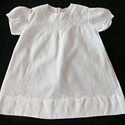 White on White Cotton Baby or Doll Dress with Delicate Embroidery