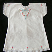 Lovely Embroidered White Soft Linen Baby or Doll Dress