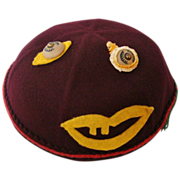 Unique Purple Felt Child's Cap Hat with Goofy Face