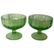 "Pair Green Federal Glass ""Hostess"" Footed Sherbert Bowls"