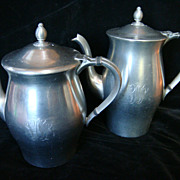 "International Pewter Coffee Pot & Tea Pot, ""W"" Engraving"