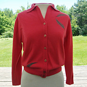 50s &quot;Full Fashioned&quot; Dark Coral Orlon Cardigan Sweater with Gray Leaf Accents