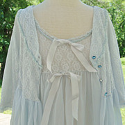 Light Blue Nylon Nightgown Robe Peignoir Set, size small