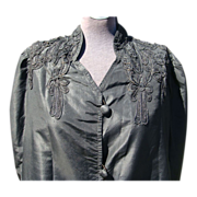 Black Taffeta Opera Coat Robe with Soutache Trim