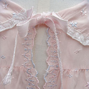 Pink Rayon Bed Jacket with Tiny Embroidered Flower Accents