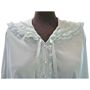 Vanity Fair Nylon Tricot Light Blue Bed Jacket with Lace Accents, Med