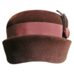 Brown Velour 60s Pillbox Hat