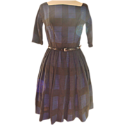 "1950s Royal Blue Plaid ""GiGi Young"" Cotton Dress"