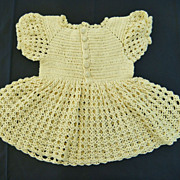 Hand Crocheted Bright Yellow Baby or Large Doll Dress