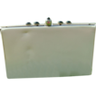 Vintage Off-White Vinyl Clutch with Black Cabochon Accents