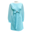 Turquoise Mini Dress, Empire Waist, Center Front Bow with Rhinestones