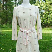 Cream A-Line Dress with Pink Flower Accents & Tie Belt