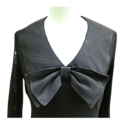 Mid-Century Shantung Black Dress, Large Bow Accent
