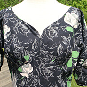 50s 'Bloomfield' Black Floral Cotton Afternoon Dress