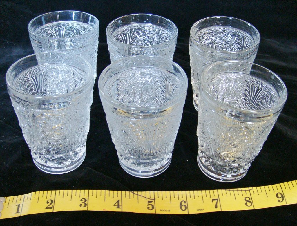 6 Duncan & Miller Sandwich Pattern 4 oz Juice Glasses