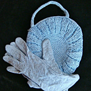 1940s Blue Crochet Purse & Nylon Gloves