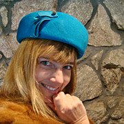 1950s-1960s Dark turquoise TNLee Neumann Endler wool felt hat