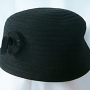 Black fairfield neumann endler molded wool felt hat or cap