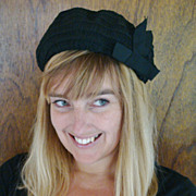 Mid-Century Black stylized beret with bow accent