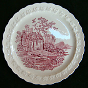 Taylor Smith Taylor pink castle luncheon plate, 1930s