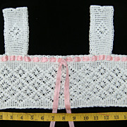 1900s Filet Crochet Yoke with Pink silk ribbon tie for corset cover or chemise