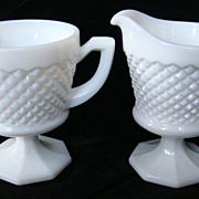 SOLD Westmoreland milk glass hobnail sugar & creamer