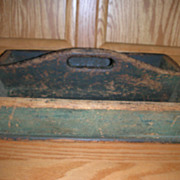 Early Antique Primitive Cutlery Utensil Carrier Tray / Old Green Paint