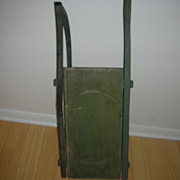 Antique Primitive 19th Century Sled / Original Paint / Stamped With Maker