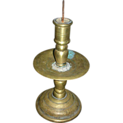 18th Or 17th Century Dutch Brass Pricket Candle Stick Spike Mid Drip