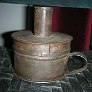 Antique Revolutionary War Era Sheet Iron Tinder Box With Candle Socket