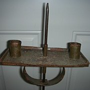 Early Antique Adjustable Candle Stand Old Green Paint Sand Weighted Stand