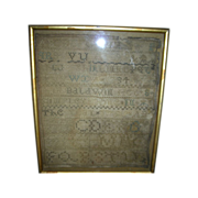 Antique Primitive Sampler Dated 1799 In Frame