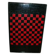 Antique Primitive Painted Checkerboard Game Board In Black Red Paint