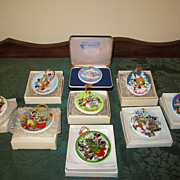Set of Nine Grolier Disney Disc Ornaments