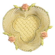Belleek Small Shamrock Basket Painted D109-5