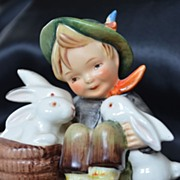 "Hummel ""Playmates"" Figurine Boy with Rabbits 58/0 TMK-2 Full Bee"