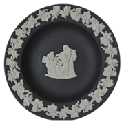 Wedgwood Cream on Black Jasperware Plate Cupid as Oracle