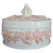 Wedgwood Embossed  Pink on Cream Trinket Box with Lid Plain Edge