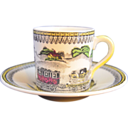 Portland Pottery RAILWAY Demitasse Cup and Saucer