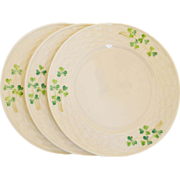 Belleek SHAMROCK Three Dessert Plates Third Black Mark 1926-1946