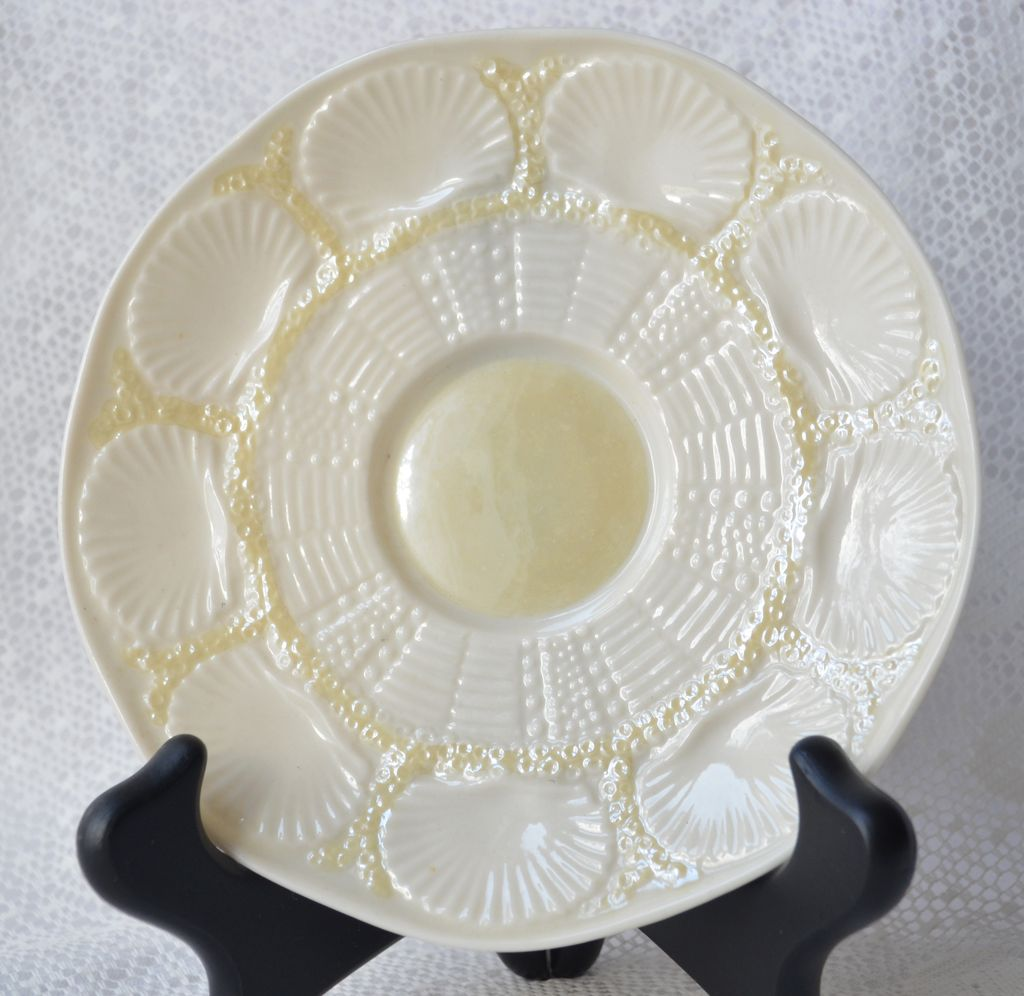 Belleek Saucer NEW SHELL Yellow 1955-1965 Second Green Mark