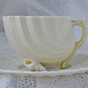 Belleek NEPTUNE Demitasse cup saucer Third Green Mark 1965 to 1980