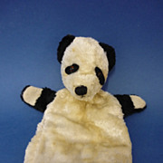 9&quot; Vintage Plush Fabric Panda Glove Puppet c1950s