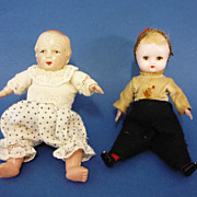Two C1930 Celluloid Baby Dolls Vintage Toys German