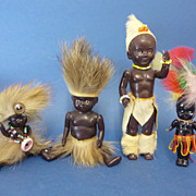 SOLD Collection 4 Hard Plastic African Native Dolls Vintage Toys C1950s